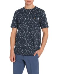 Farah - Blue Foxton Regular Fit Dash Print T-shirt for Men - Lyst