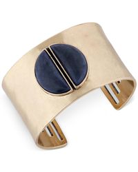 Lucky Brand | Blue Gold-tone Split Stone Wide Cuff Bracelet | Lyst