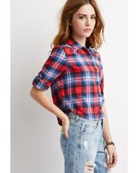 Forever 21 | Red Plaid Flannel Shirt | Lyst