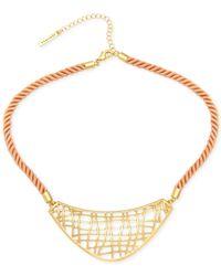 T Tahari | Metallic Gold-Tone Open Lacework Cord Bib Necklace | Lyst