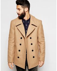 Gloverall | Brown Peacoat In Wool - Tan for Men | Lyst