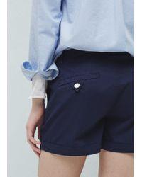 Mango - Blue Cotton-blend Shorts - Lyst
