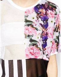 ASOS | White Tunic With Mixed Panel Print | Lyst