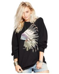 Denim & Supply Ralph Lauren | Black Drapey Graphic Sweatshirt | Lyst