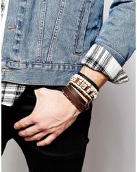 ASOS | Leather Bracelet Pack With Skulls In Brown for Men | Lyst