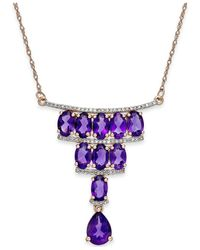 Macy's | Purple Amethyst (4-1/3 Ct. T.w.) And Diamond (1/5 Ct. T.w.) Deco Necklace In 14k Rose Gold | Lyst