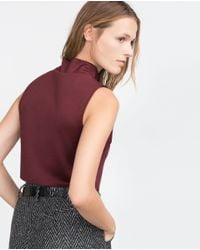 Zara | Purple Cropped Top | Lyst