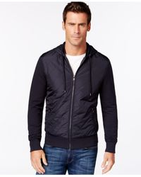 Michael Kors | Blue Quilted Zip-front Drawstring Hoodie Jacket for Men | Lyst
