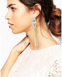ASOS | Metallic Chain Tassel Occasion Earrings | Lyst