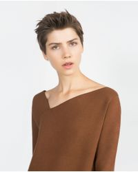Zara | Brown Sweater With Asymmetric Neckline | Lyst