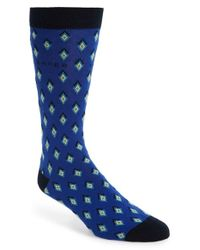 Ted Baker | Blue Organic 'diamond Geo' Pattern Socks for Men | Lyst