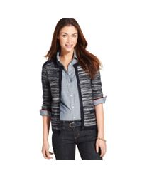 Tommy Hilfiger | Blue Long Sleeve Marled Knit Cardigan | Lyst