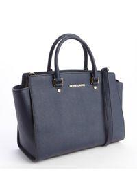 MICHAEL Michael Kors - Blue Navy Leather Selma Logo Imprinted Top Handle Convertible Tote - Lyst