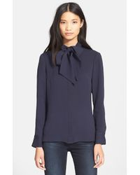FRAME | Blue 'le Bow' Tie Neck Silk Shirt | Lyst