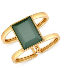 T Tahari | Gold-tone Green Stone Double Bar Hinge Cuff Bracelet | Lyst