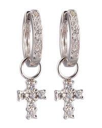 KC Designs | White Cross-charm Huggie Earrings | Lyst
