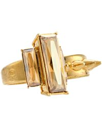Alexander McQueen - Metallic Double Knuckle Studs And Stone Ring Set - Lyst
