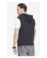Express - Gray Hooded Sleeveless Fleece Vest for Men - Lyst