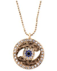 RACHEL Rachel Roy | Metallic Necklace, Gold-Tone Pave Crystal Evil Eye Medallion Pendant Necklace | Lyst