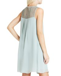 BCBGeneration | Blue Lace Chiffon Babydoll Dress | Lyst