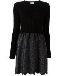 RED Valentino - Black Scalloped Hem Dress - Lyst