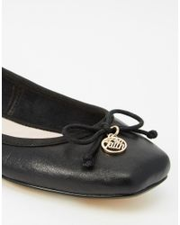 Faith - Austin Leather Square Toe Ballet Flats - Black - Lyst