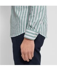 Hentsch Man | Green Button-Down Collar Striped Cotton Shirt for Men | Lyst