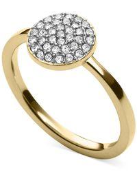 Michael Kors - Metallic Gold-Tone Crystal Pavé Disc Ring - Lyst