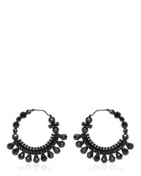 Givenchy | Black Crystal Hoop Earrings | Lyst