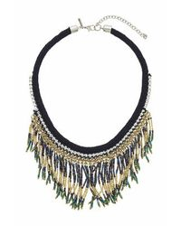 TOPSHOP - Green Multi-beaded Necklace - Lyst