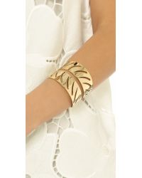 Rebecca Minkoff | Metallic Safari Haze Leaf Cuff Bracelet - Gold | Lyst