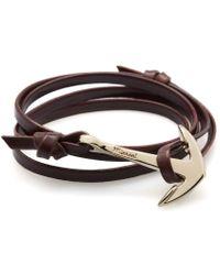 Miansai | Brown Brandy Leather Gold Anchor Bracelet for Men | Lyst