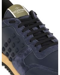 Valentino | Blue Rockstud Leather & Suede Sneakers | Lyst