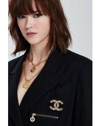 Nasty Gal | Metallic Vintage Chanel Rhinestone Embellished Logo Pin | Lyst