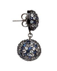 M.c.l | Black Rhodiumplated Sapphire Pave Drop Earrings | Lyst