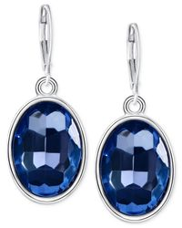 T Tahari - Silver-Tone Blue Oval Stone Drop Earrings - Lyst