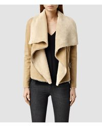 AllSaints | Natural Sheepskin Wrap Biker | Lyst