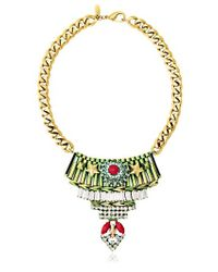 Iosselliani - Green Full Metal Jewels Necklace - Lyst