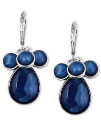 Jones New York | Silver-Tone Blue Stone Cluster Drop Earrings | Lyst