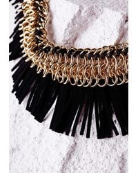 Missguided - Metallic Suedette Fringed Collar Necklace Black - Lyst