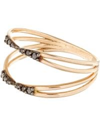 Kismet by Milka - Pink Rose Gold And Black Diamond Ring - Lyst