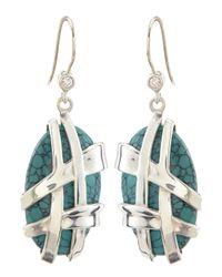 Slane | Blue Crescent Weave Turquoise & Diamond Earrings | Lyst
