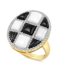 Le Vian | Metallic Diamond 38 Ct Onyx 115mm and White Agate 415mm Ring in 14k Gold | Lyst