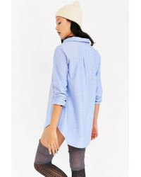 BDG - Blue Popover Oxford Tunic Top - Lyst