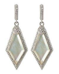Judith Ripka - Metallic Modern Deco Mother-Of-Pearl Doublet Pentagon Earrings - Lyst