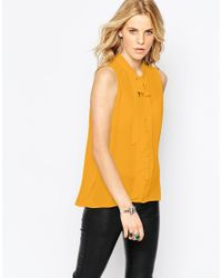 Glamorous | Yellow Blouse With Skinny Scarf Pussybow | Lyst