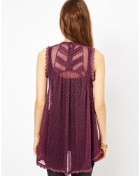 Free People | Purple Victorian Top in Dotted Mesh | Lyst