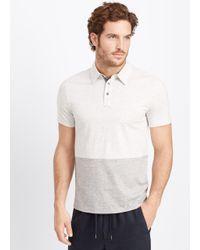 Vince - Blue Jaspé Jersey Colorblock Short Sleeve Polo for Men - Lyst
