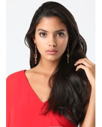Bebe | Red Linear Crystal Earrings | Lyst