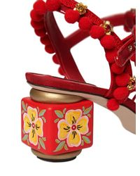 Dolce & Gabbana - Red 60mm Pompom Raffia & Cotton Sandals - Lyst